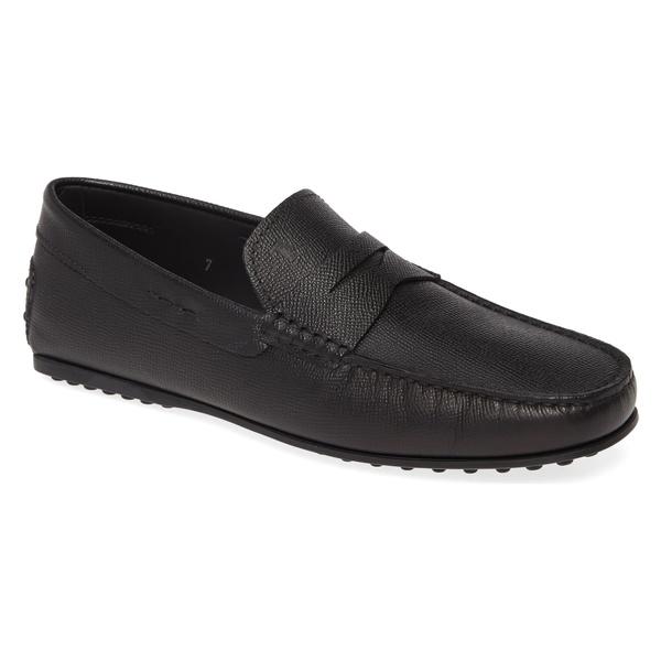 トッズ メンズ スリッポン・ローファー シューズ Tod's 'City' Penny Driving Shoe (Men) Black Textured Leather