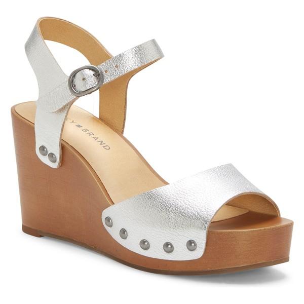 ラッキーブランド レディース サンダル シューズ Lucky Brand Zashti Wedge Sandal (Women) Silver Leather