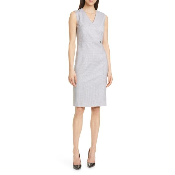 ボス レディース トップス ワンピース Grey Fantasy 全商品無料サイズ交換 ボス レディース ワンピース トップス BOSS Destia Check Wool Sheath Dress (Regular  Petite) Grey Fantasy