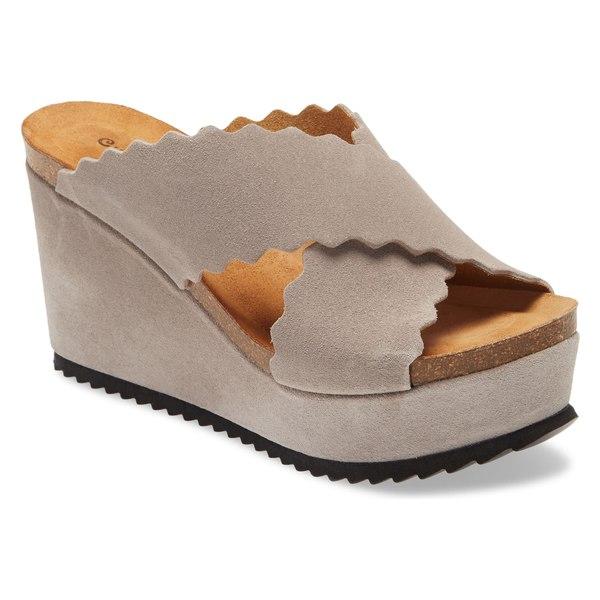 ショコラブルー レディース サンダル シューズ Chocolat Blu Lola Scalloped Platform Wedge Mule (Women) Grey Suede
