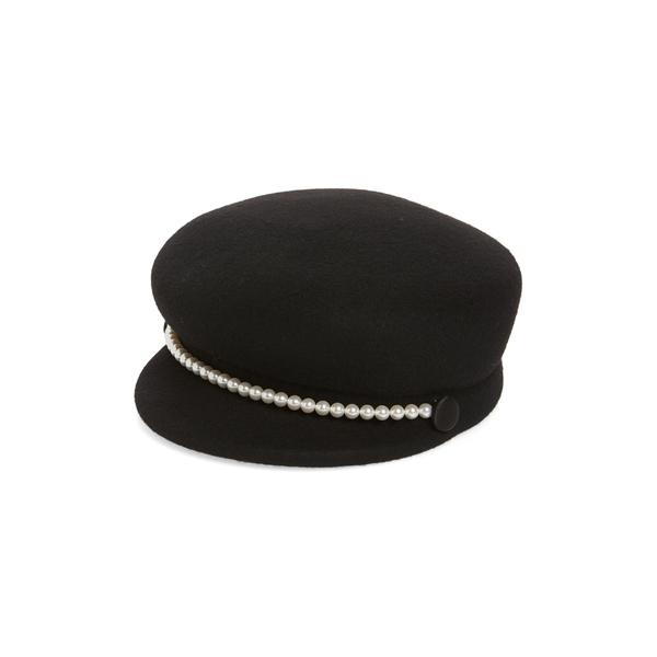 ユージニアキム レディース 帽子 アクセサリー Eugenia Kim Embellished Felted Wool Cap Black