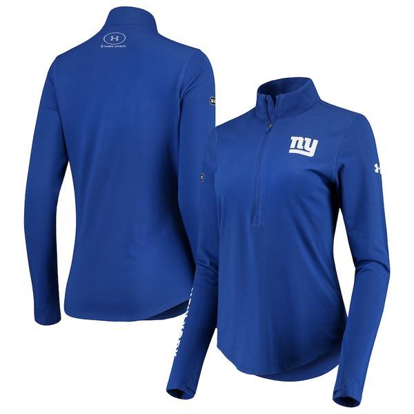 アンダーアーマー レディース ジャケット&ブルゾン アウター New York Giants Under Armour Women's Combine Authentic Favorites Half-Zip Jacket Royal