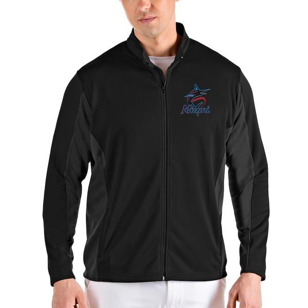 アンティグア メンズ ジャケット&ブルゾン アウター Miami Marlins Antigua Passage Full-Zip Jacket Black