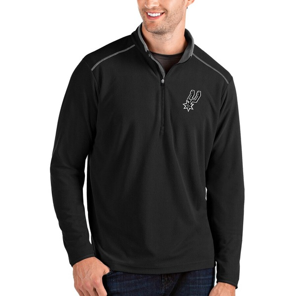 アンティグア メンズ ジャケット&ブルゾン アウター San Antonio Spurs Antigua Glacier Quarter-Zip Pullover Jacket Black/Gray