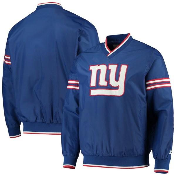 スターター メンズ ジャケット&ブルゾン アウター New York Giants Starter Gameday Trainer Pullover Sweatshirt Royal/White
