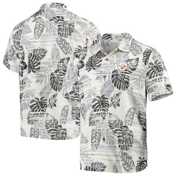 トッミーバハマ メンズ シャツ トップス Pittsburgh Steelers Tommy Bahama Super Fan Camp Button-Up Shirt Black