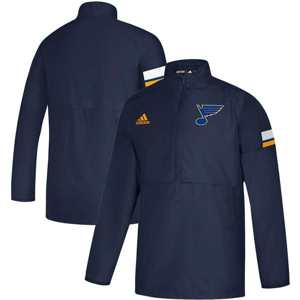 アディダス メンズ ジャケット&ブルゾン アウター St. Louis Blues adidas Game Mode Quarter-Zip Pullover Jacket Navy
