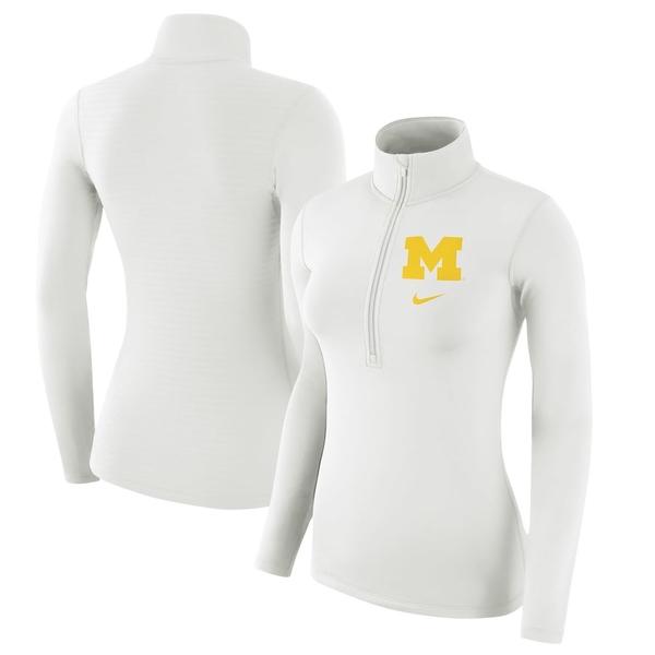ナイキ レディース ジャケット&ブルゾン アウター Michigan Wolverines Nike Women's Jacquard Striped Back Half-Zip Pullover Jacket White