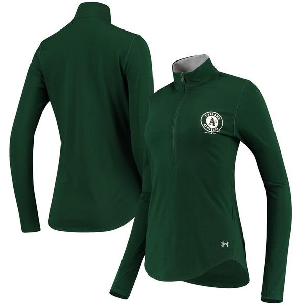 アンダーアーマー レディース ジャケット&ブルゾン アウター Oakland Athletics Under Armour Women's Charged Cotton Half-Zip Pullover Jacket Green