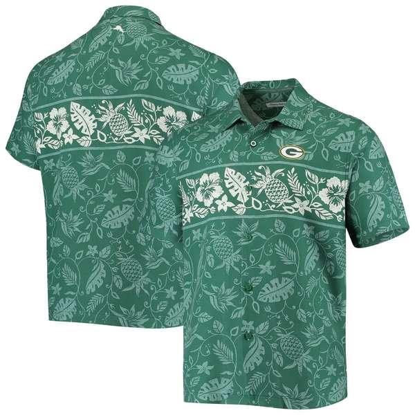 トッミーバハマ メンズ シャツ トップス Green Bay Packers Tommy Bahama Pina Plazzo Silk Camp Shirt Green