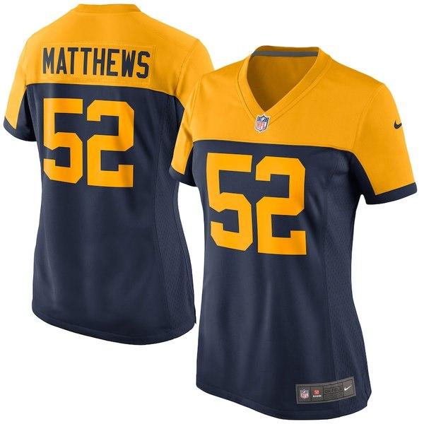 ナイキ レディース シャツ トップス Clay Matthews Green Bay Packers Nike Women's Alternate Game Jersey Navy