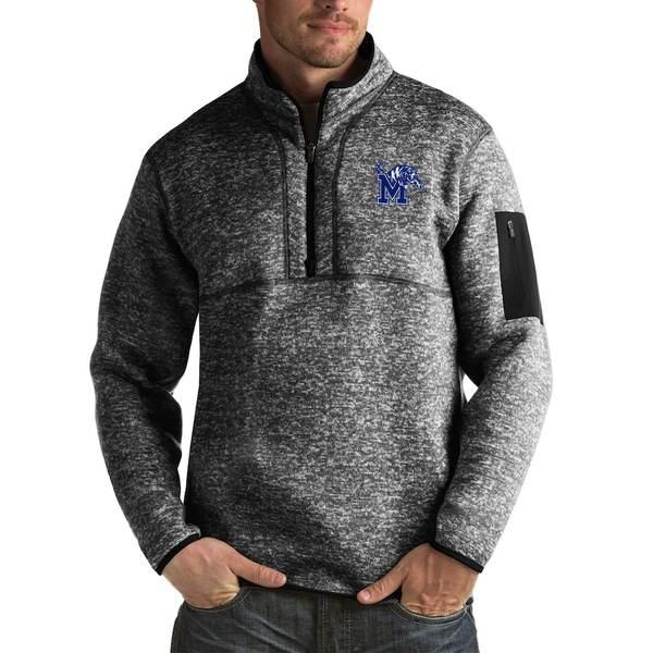 アンティグア メンズ ジャケット&ブルゾン アウター Memphis Tigers Antigua Fortune Big & Tall Quarter-Zip Pullover Jacket Black