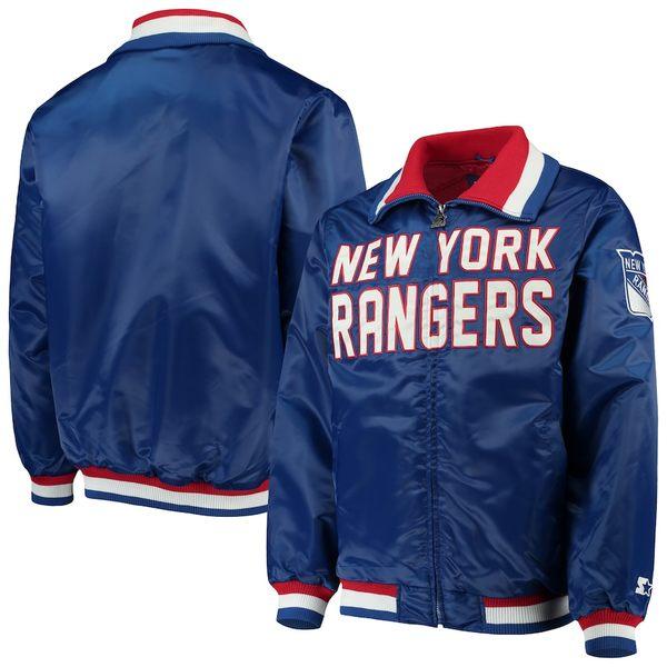 スターター メンズ ジャケット&ブルゾン アウター New York Rangers Starter Captain II Satin Full-Zip Jacket Blue/Red