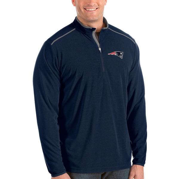 アンティグア メンズ ジャケット&ブルゾン アウター New England Patriots Antigua Glacier Big & Tall Quarter-Zip Pullover Jacket Navy