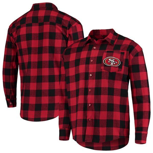 フォコ メンズ シャツ トップス San Francisco 49ers Large Check Flannel Button-Up Shirt Scarlet