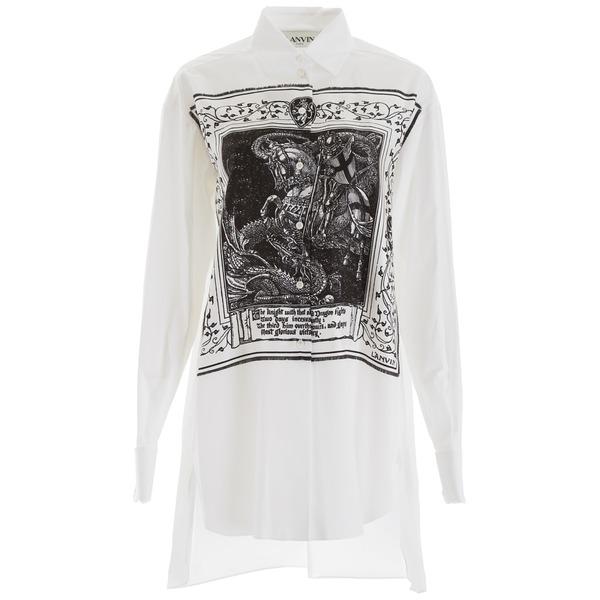 ランバン レディース シャツ トップス Lanvin Shirt With Scarf Insert BLACKWHITEWhite