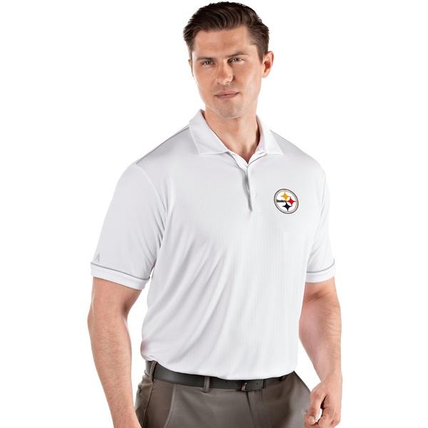 Antigua メンズ トップス ポロシャツ White Silver 全商品無料サイズ交換 Polo Pittsburgh 年末年始大決算 Steelers 輸入 アンティグア Salute Men's Shirt