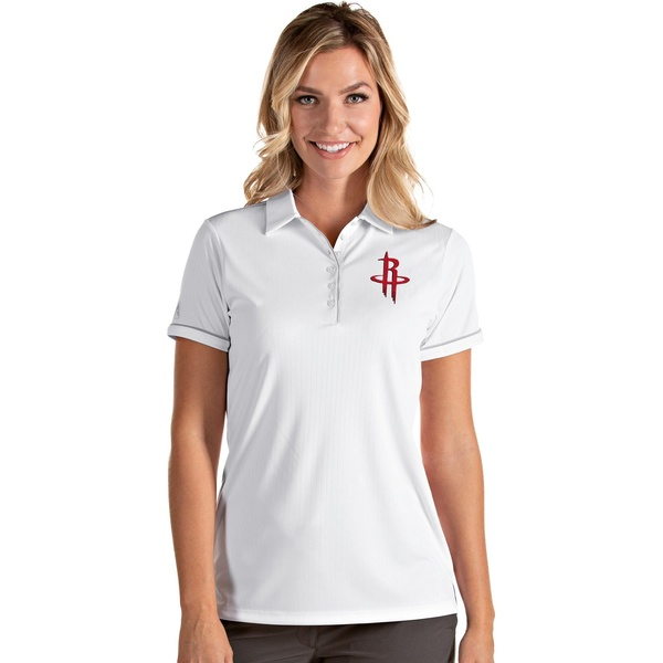 Antigua レディース トップス ポロシャツ White Silver 全商品無料サイズ交換 Women's Salute Houston Shirt Rockets Polo アンティグア 全商品オープニング価格 新作送料無料