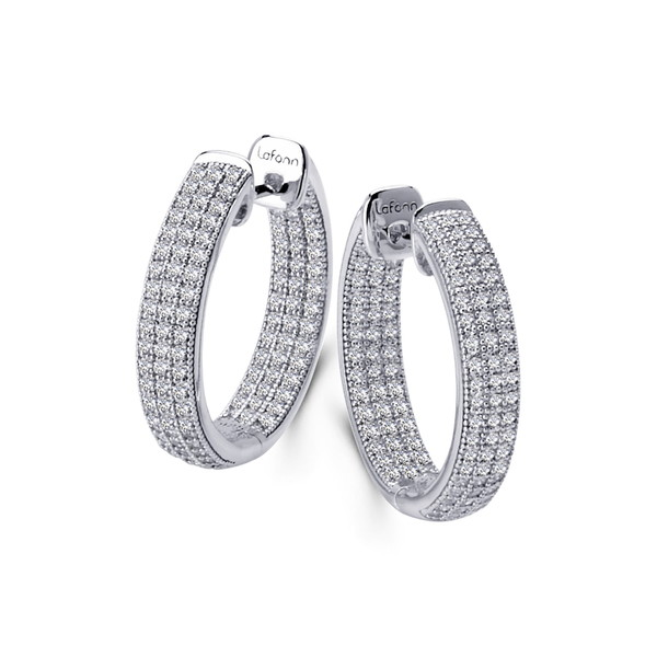 Silver Earrings Plated Simulated Hoop Rolls Platinum Round アクセサリー ピアス&イヤリング レディース ラフォン Pave 3 Diamond Micro WHITE Sterling