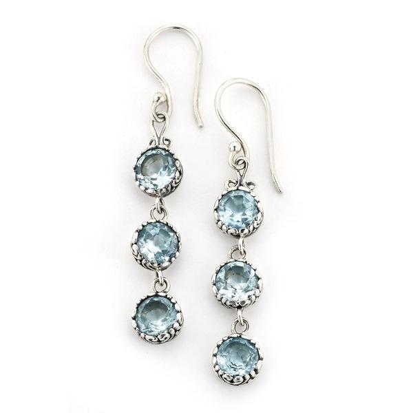 Blue Earrings Topaz サミュエルビージュエリー ピアス&イヤリング Silver Triple アクセサリー BLUE Sterling レディース Drop SILVER