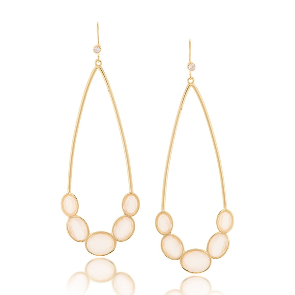 Crystal Plated White Bottom Elongated ピアス&イヤリング アクセサリー Gold Earrings レディース Station Cat's 18K WHITE Eye リブカフリードマン