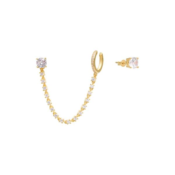 レディース & GOLD Cuff CZ Yellow Earrings 14K Gold アクセサリー ピアス&イヤリング Vermeil ガブプラスコス Studs