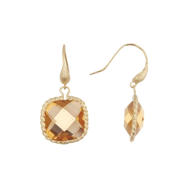 Earrings Faceted Citrine Cable Cut Crystal レディース Gold Clad リブカフリードマン Drop Cushion CITRINE Twisted ピアス&イヤリング アクセサリー 18K Bezel