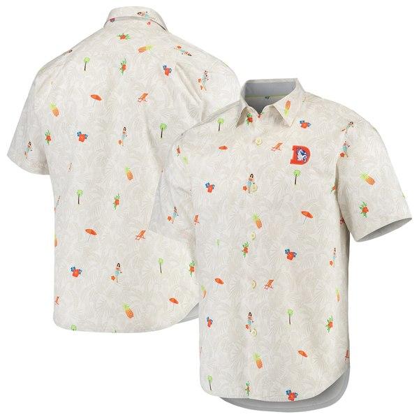 トッミーバハマ メンズ シャツ トップス Denver Broncos Tommy Bahama Beachcation Team Throwback ButtonUp Woven Shirt White