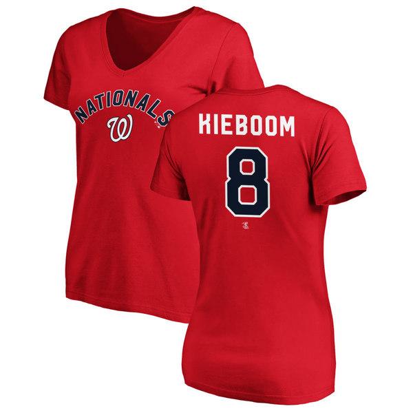ファナティクス レディース Tシャツ トップス Washington Nationals Fanatics Branded Women's Personalized Winning Streak Name & Number Slim Fit VNeck TShirt Red