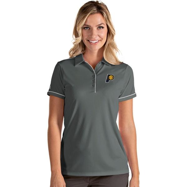 Antigua レディース 再入荷/予約販売! 最安値に挑戦 トップス ポロシャツ Gray White 全商品無料サイズ交換 Women's アンティグア Pacers Indiana Polo Shirt Salute