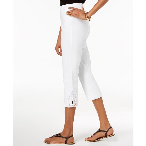 開店祝い ジェイエムコレクション レディース カジュアルパンツ ボトムス Crochet-Lace Appliqué Capri Pants, Bright White, キタウラチョウ 17e48890