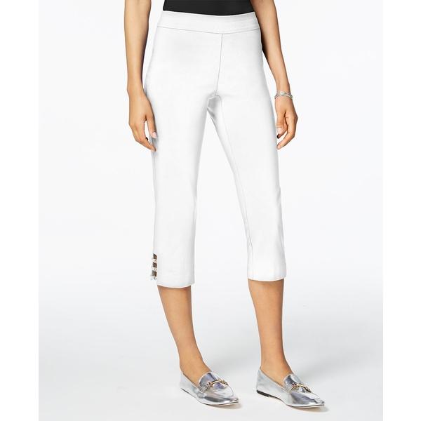高い品質 ジェイエムコレクション レディース カジュアルパンツ ボトムス Pull-On Lattice-Inset Capri Pants, Bright White, 景品目録名入販促のギフトの王国 42be45e6