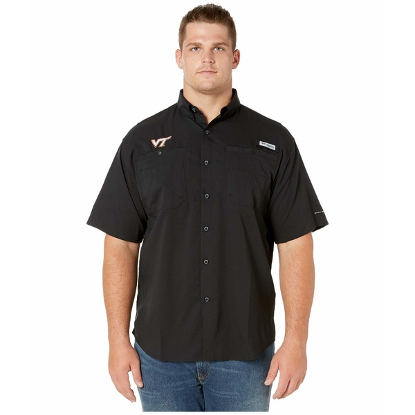 コロンビアカレッジ メンズ シャツ トップス Big & Tall Virginia Tech Hokies Collegiate Tamiami II Short Sleeve Shirt Black