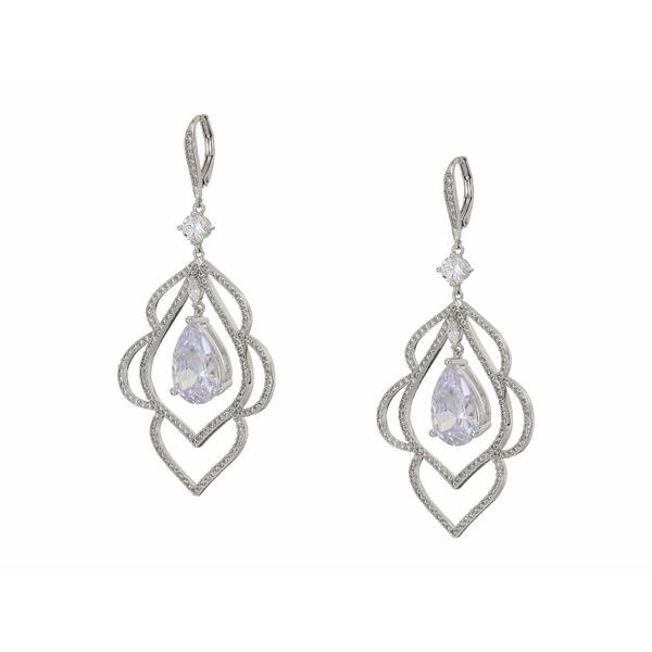 ニナ レディース ピアス&イヤリング アクセサリー Scalloped CZ Leaf Earrings Rhodium/White CZ
