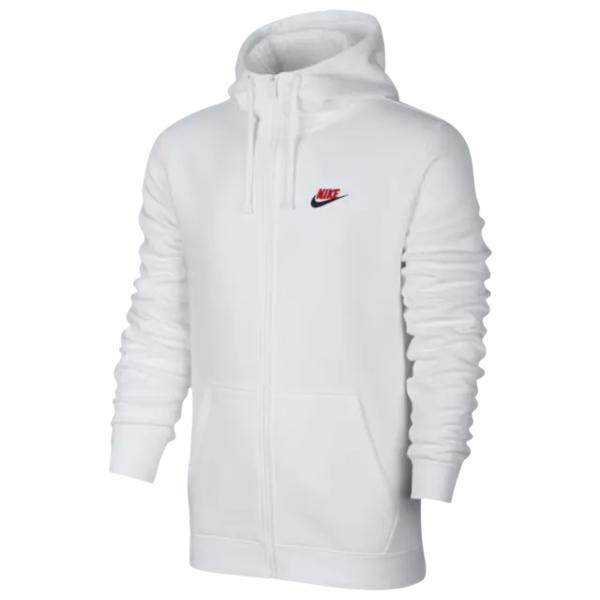 ナイキ メンズ フィットネス スポーツ Club FullZip Fleece Hoodie White/White/University Red