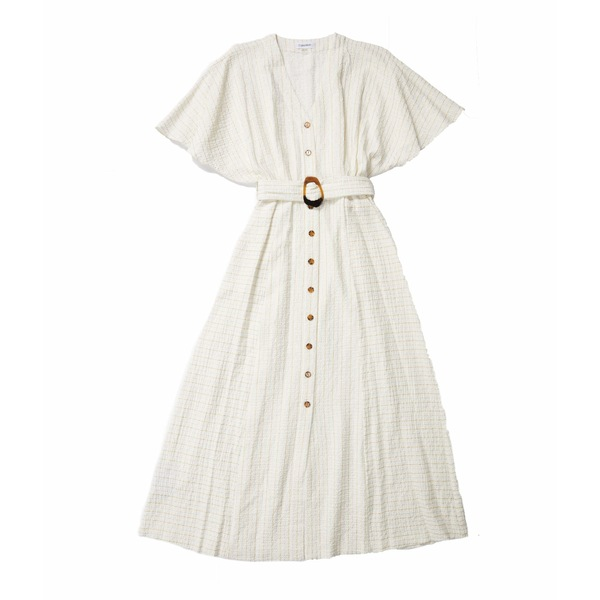 カルバンクライン レディース ワンピース トップス Short Sleeve Maxi Dress with Tie Belt White Multi