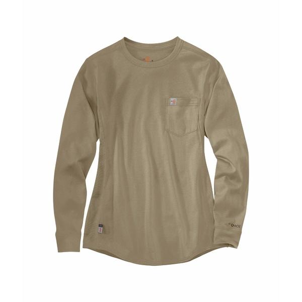 カーハート レディース シャツ トップス Flame-Resistant Force Cotton Long Sleeve Crew Khaki