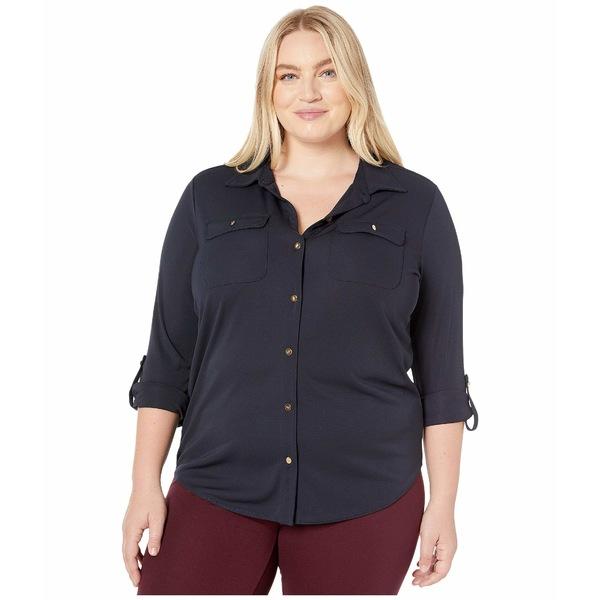 ラルフローレン レディース シャツ トップス Plus Size Roll-Tab Sleeve Shirt Lauren Navy