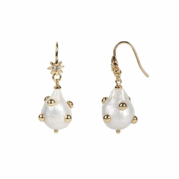 レベッカミンコフ レディース ピアス&イヤリング アクセサリー Studded Baroque Pearl Drop Earrings Multi