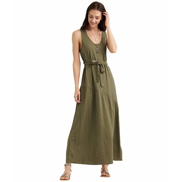 ラッキーブランド レディース ワンピース トップス Sleeveless Crew Neck Eliza Belted Maxi Dress Burnt Olive