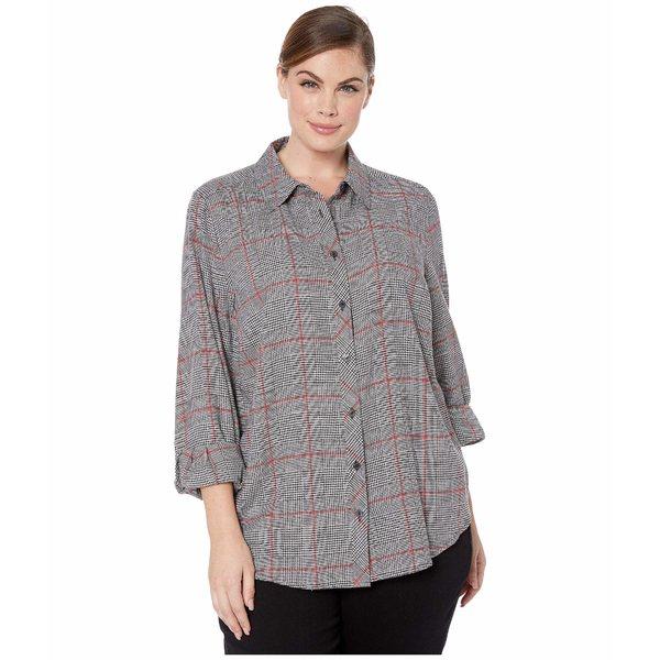 フォックスクラフト レディース シャツ トップス Plus Size Zoey Brushed Glen Plaid Shirt Multi