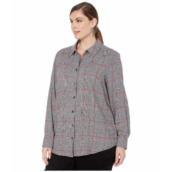 フォックスクラフト レディース シャツ トップス Plus Size Zoey Brushed Glen Plaid Shirt MultiEH92WID