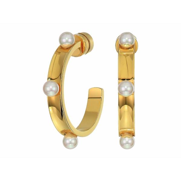 マジョリカ レディース ピアス&イヤリング アクセサリー 4 mm Circle Round Hoop Earrings in Gold Plated Steel White