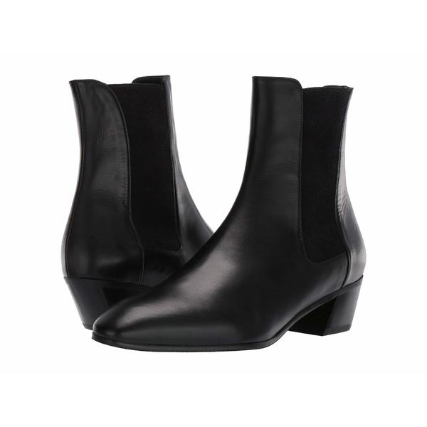 スチュアート ワイツマン レディース ブーツ&レインブーツ シューズ Cleora Leather Bootie Black Smooth Calf/Sueded Elastic
