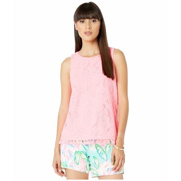リリーピュリッツァー レディース シャツ トップス Maybelle Top Lillys Coral Wildflower Stripe Lace