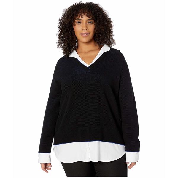 フォックスクラフト レディース ニット&セーター アウター Plus Size Mika Ribbed Twofer Sweater Black