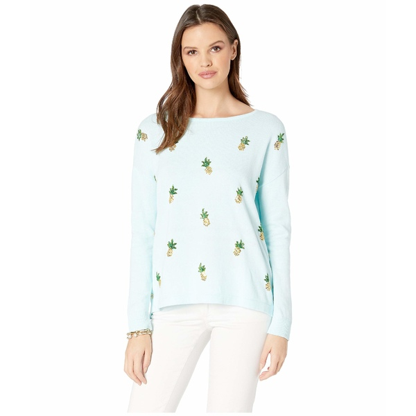 リリーピュリッツァー レディース ニット&セーター アウター Caralynn Sweater Whisper Blue Tossed Pineapple Embellishment