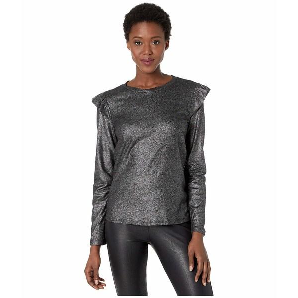 マイケルコース レディース シャツ トップス Foil Linen Long Sleeve Ruffle Top Black/Silver