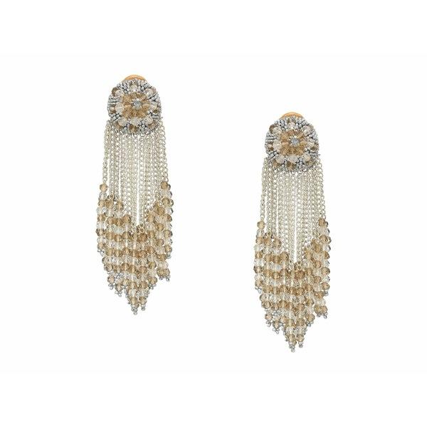 オスカー デ ラ レンタ レディース ピアス&イヤリング アクセサリー Chain Cluster Beaded C Earrings Crystal Shade/Silver