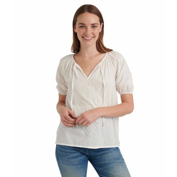 ラッキーブランド レディース シャツ トップス Short Sleeve V-Neck Embroidered Peasant Top Bright White